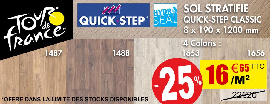 SOL STRATIFIE QUICK·STEP CLASSIC 8 x 190 x 1200 mm OFFRE DANS LA LIMITE DES STOCKS DISPONIBLES